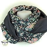 Loop-Schal Damen, schwarz Blüten