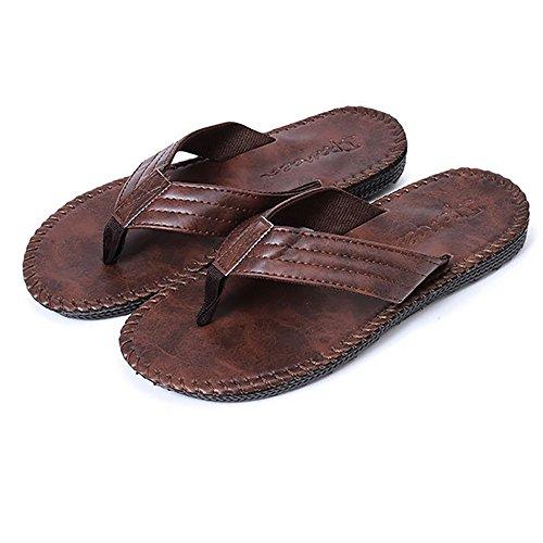 Pingenaneer Flip Flop / Sandales Tongs / Hommes Tongues Faux Cuir Anti-dérapant été Chaussures Marron