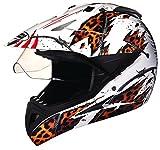 Studds Motocross D1 Full Face Helmet (White N12, XL)