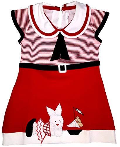 Little Panda Baby Girls Frock Dress for Kids & Infants (Red, 5-6 Years)