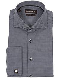 JACQUES BRITT Herren Hemd Langarm mit Manschettenknöpfen Custom Fit Brown Label Kai Satinribbon UMA 233642-36 Größen: 39 40 41 42