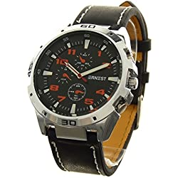 Gift Ideas - Men's Analog Watch Ernest - a765-orange-fonce Brand - Black PU Leather Bracelet - Round Dial Black Background