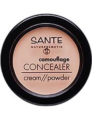 SANTE Naturkosmetik Camouflage Concealer, 02 Sand, Deckt Schatten und Makel ab, Zum Contouring geeignet, Vegan, 3 g