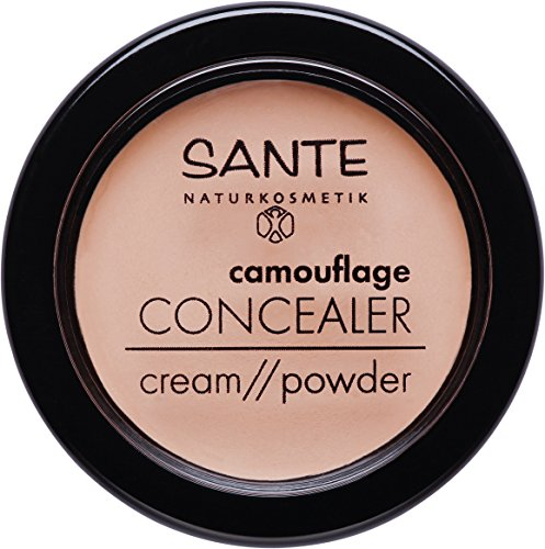 SANTE Naturkosmetik Camouflage Concealer, 02 Sand, Deckt Schatten & Makel ab, Zum Contouring geeignet, Vegan, 2x3g Doppelpack