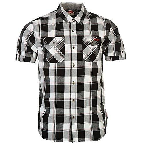 Lee Cooper Herren Hemd mit Brusttaschen, kurzärmelig, kariert, Baumwolle Gr. XXXL, schwarz, weiß, rot