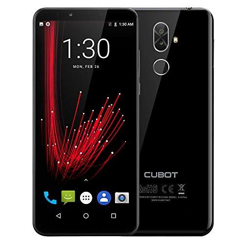 CUBOT X18 Plus   4G Smartphone 5.99 Pulgadas Android 8.0 MTK6750T 1.5GHz Octa Core 4GB RAM 64GB ROM 4000mAh Batería 20.0MP + 2.0MP Cámaras Duales Traseras Reconocimiento de Huellas Digitales   Negro