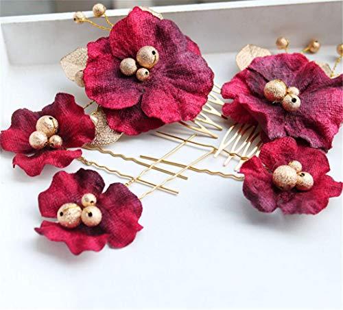 shunlidas Wohnaccessoires Kunstblumen Kunst Schmuck Retro-Stil Chinesische Bräute Headwear Roten Kopf Haarnadel Set Kostüm Brautkleid - Braut Kostüm Schmuck Sets