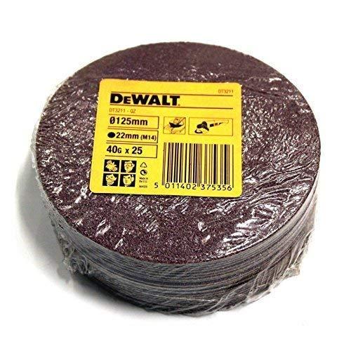 "25 Dewalt DT3211 125mm / 5\"" Amoladora de Ángulo Abrasivo Fibra Discos Lijar 40G"