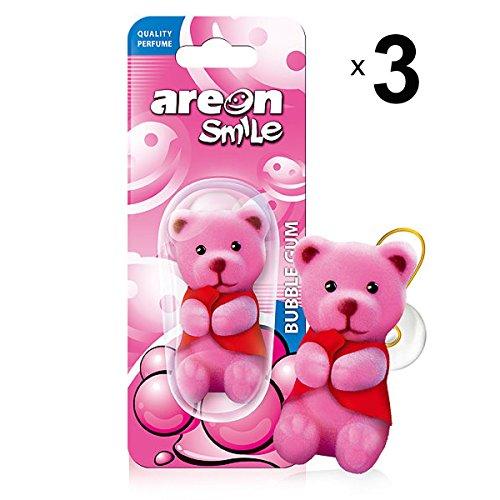AREON Smile Deodorante Auto Bubble Gum Orso Rosa Divertenti da Appendere Specchietto Retrovisore Simpatici 3D (Confezione da 3)