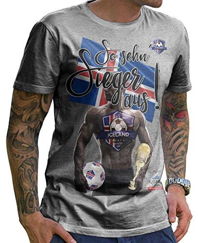 Stylotex Herren T-Shirt Basic So sehn Sieger aus Guy Island Iceland, Farbe:heather;Größe:L