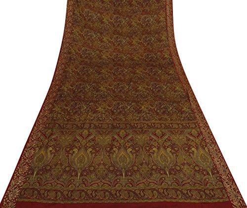 Indian reine Seide Saree mit Blumenmuster Craft Stoff Jahrgang Maroon Sari Gebraucht 5 Yds (Sari Maroon)