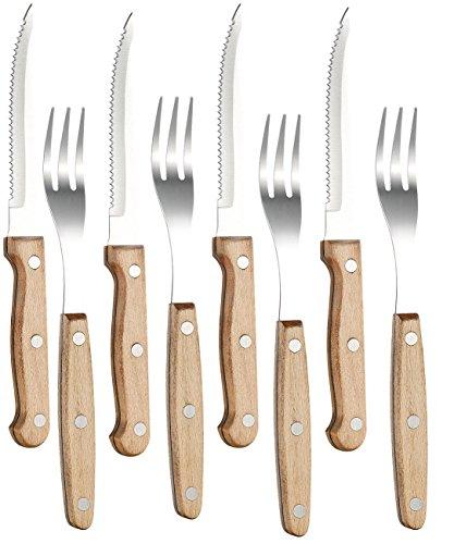 PEARL Steak-Messer: 8-teiliges Steakbesteck mit Buchenholzgriffen für 4 Personen (Steak- & Pizza-Messer)