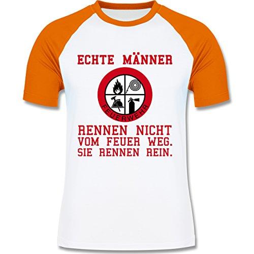 Feuerwehr - Echte Männer rennen ins Feuer! - zweifarbiges Baseballshirt für Männer Weiß/Orange