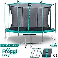 Froggi Trampoline d'extérieur Sky - 183cm Norme CE Structure Garantie 5 Ans Charge Max : 100 kg