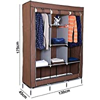 Kurtzy Collapsible Clothes Storage Wardrobe Cupboard With 6 Cabinet And 2 Long Shelves Organizer Hanging Rail