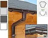 Dachrinnen/ Regenrinnen Set | sechseckiges Dach (6 Seiten) | GD16 | in anthrazit, weiß, braun oder grau! (Umriss bis 14.00 m (Kompl. Set), Braun)