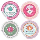 24 Aufkleber | Sticker für Tee Liebhaber mit Teekanne und Sprüchen, MATTE universal Papieraufkleber für Geschenke, kleine Notizen, Pakete, Briefe und mehr (ø 45mm