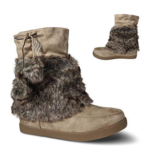 Damen Stiefel gefüttert Stiefeletten Boots Schlupfstiefel Bommel ST055 Khaki