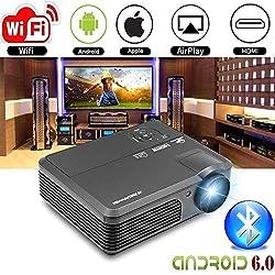 WXGA LED HD Projecteur Sans fil Bluetooth HDMI Smart LCD Android6.0 Vidéo Projecteur Wifi 4200 lumen 1080P Multimédia HDMI USB VGA AV Audio Airplay pour iPhone iPad Mac Ordinateur portable TV DVD XBOX