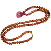 Mogul Interior Adult Inspiring Love Mala Beads Jade Rudraksha Chakra Japamala 14.5 inches Pink