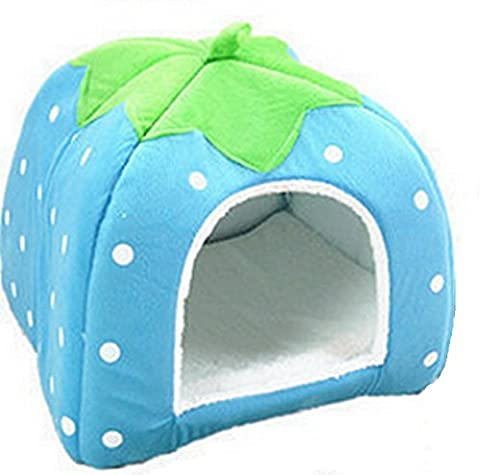 Westeng Puppy House Lovely Strawberry Dog Kennel Cushion Pet Cat Bed Nest Plush Cave Warm Soft Foldable, 1Pc