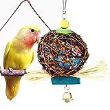 AOLVO Parrot Kauen Spielzeug, Natural Rattan Vogel Spielzeug, bunt, Gefiederpflege Swing Aufhängen Sitzstange Parrot Bird Bell für Papagei Kakadu Ara Sittiche Nymphensittiche Unzertrennliche Finch Käfig Spielzeug