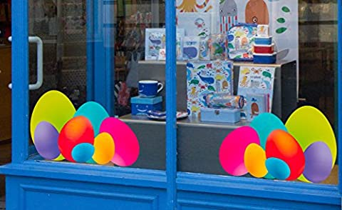 Set of Large Colourful Easter Egg Window Corner Static Cling Decorations. Seasonal window stickers from