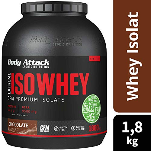 Body Attack Extreme Iso Whey, Chocolate, 1,8 kg, Whey Protein Pulver zum Muskelaufbau aus 100% irischer Weidemilch, fettarmes Eiweißpulver ohne Aspartam -