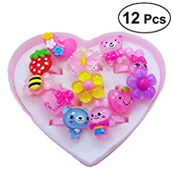 Fenical 12pcs Ring-Set für Kinder Mädchen Prinzessin Jewel Rings Spielzeug Kinderringe mitgebsel (Gemischt)
