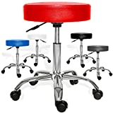 Kesser Drehstuhl Rollhocker ✓ Arbeitshocker ✓ Drehhocker ✓ Praxishocker | dicke Polsterung | Stuhl | Sitz | Modell: Rot ohne Lehne