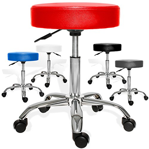 Kesser® Drehstuhl Rollhocker ✓ Arbeitshocker ✓ Drehhocker ✓ Praxishocker   dicke Polsterung   Stuhl   Sitz   Modell: Rot ohne Lehne