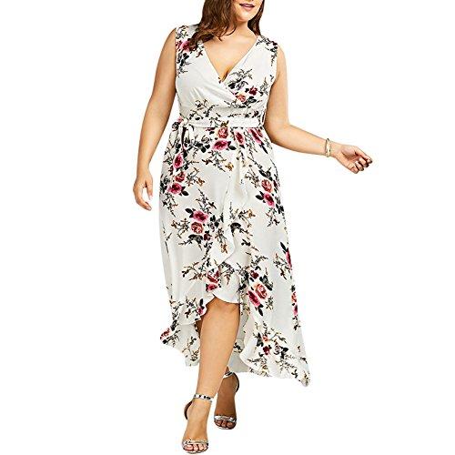 92ec840cf22 iShine Übergröße Kleid Damen V-Ausschnitt Ärmellos Sommerkleid Maxikleid  A-Linie Partykleid Festliches Kleid große größen-BG-2XL