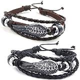 KONOV Schmuck Herren Damen Armband, 2 Engel Flügel Freundschaftsarmband, 18-23cm Verstellbaren Größen, Leder Legierung, Braun Schwarz Silber