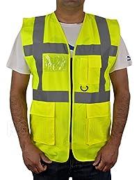 Chaleco de alta visibilidad para seguridad en el trabajo con cremallera y bolsillo