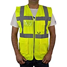 HiVis High Visibility Executive Work Safety Zip Vest Pocket waistcoat Size S-4XL