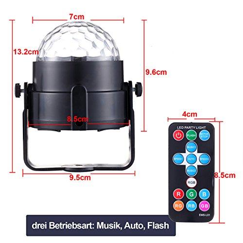 Yorbay LED Discokugel RGB Projektor Lichteffekte 7 Farben Party Lampe 5W Musikgesteuert mit Fernbedienung für Party Disco Bar Weihnachten Feier Halloween Dance DJ KTV Konzert - 5
