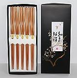 "AAF Nommel ® – Asia Essstäbchen Chopsticks 5 Paar Design ""Twisted"" Bambus natur Nr. 070"