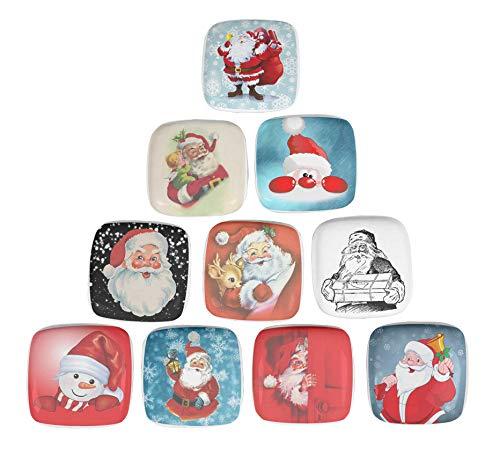 IBA Indianbeautifulart Mehrfarbig Santa & Geschenke Weihnachten Quadrat Keramik Türgriffe Für Schränke Lackierten Knöpfe Für Aufbereiterfächer Keramik-santa