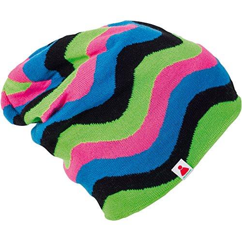 N NEON-pink/grün / schwarz/blau Beanie Mütze gestrickt ()