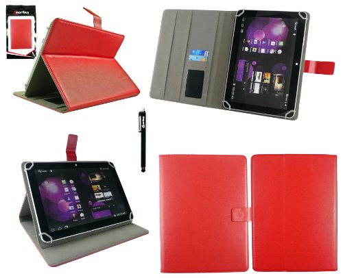 Emartbuy® Denver TAQ-10153 10.1 Zoll Tablet Universalbereich Rot Multi Winkel Folio Executive Case Cover Wallet Hülle Schutzhülle mit Kartensteckplätze + Schwarz Eingabestift