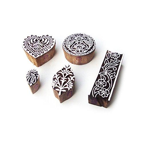 Tondo e Cuore Decorativo Designs Legno Stampa Timbri (Set di 5)