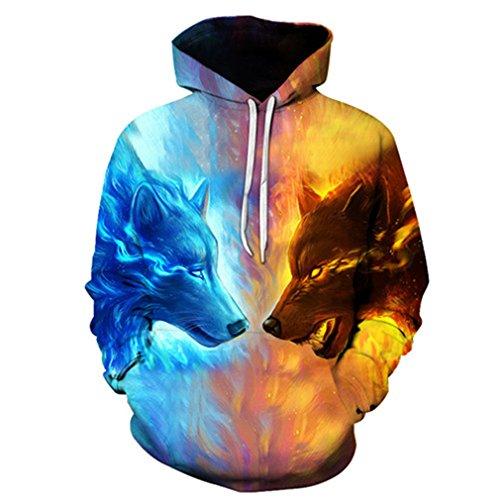 Eis Feuer Wolf Hoodies 3D Männer Frauen Sweatshirts Mode Pullover Herbst Trainingsanzüge Harajuku Hoodies Casual Tier LMS039 4XL (Feuer Und Eis Halloween)