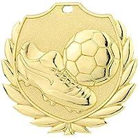 10 Stück Fußball-Medaillen mit Band + 3 Fußball-Anstecknadeln (D77)