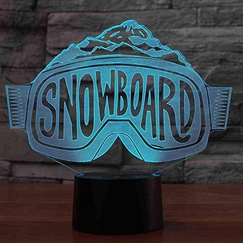 3D Led Skibrille Modellierung Nachtlichter Bunte Farbverlauf Tischlampe Schlafzimmer Nachttisch Dekor Snowboard Schlaf Beleuchtung Weihnachtsgeschenke