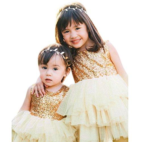 by Mädchen Kinder Weihnachten Party roten Pailletten Tutu Kleider Weihnachtsgeschenk Kleide(1-6 Jahre) (100cm 2-3 Jahre) (90CM 12Monate, Gold) (Gold Weihnachten Kleider)