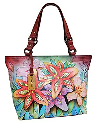 ANUSCHKA Women Designer Leather Handbag *UNIQUE* - FLOWERS -
