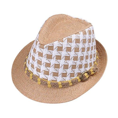 Bigood Chapeau Fedora Unisexe Paille Cow-Boy Carreau Style Classique Kaki