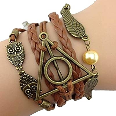 Mychampion Deathly Hallows Logo-Snitch Wings-Hedwig Pendant 3 in 1 Handmade Bracelet : everything five pounds (or less!)