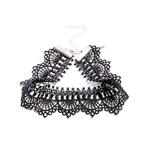 YAZILIND Vintage Schmuck Gothic Lolita Stil Verstellbare schwarze Spitze Kette Bib Choker Halskette für (Paar Internationales Kostüme)