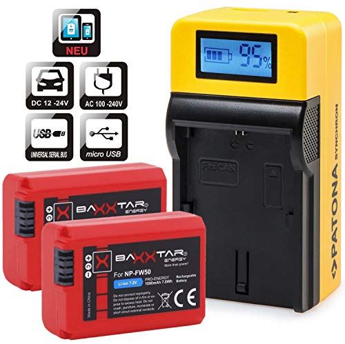 Baxxtar Pro Akku (1080mAh) 2X - Ersatz für Akku Sony NP-FW50 - mit LCD Ladegerät - MicroUSB Eingang/USB-Ausgang für Drittgeräte (Smartphone usw.) 2 X 2 Lcd
